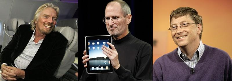 Bill Gates, Steve Jobs e Richard Branson