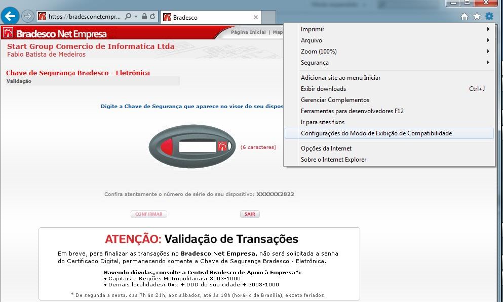Problema para acessar o Bradesco Net Empresa no Internet