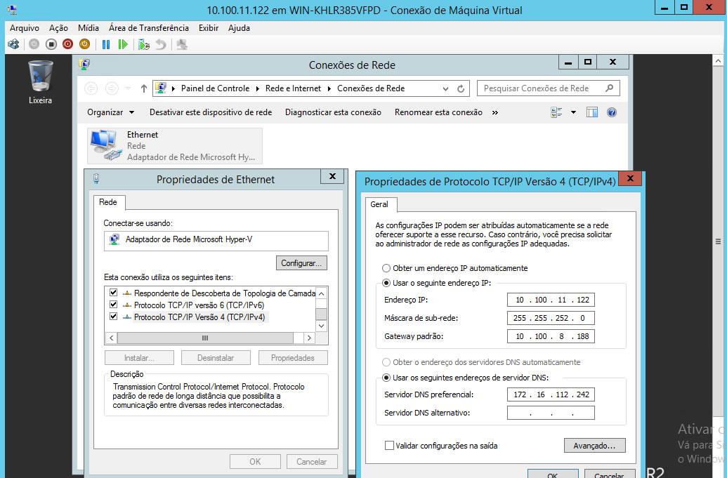 Configurações Rede Maquina Virtual Hyper-V 1